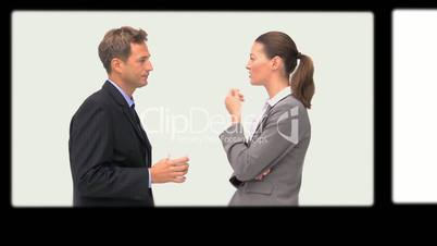 Rolling screens showing business people scenes