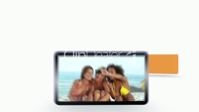 Montage of friends having fun at the beach