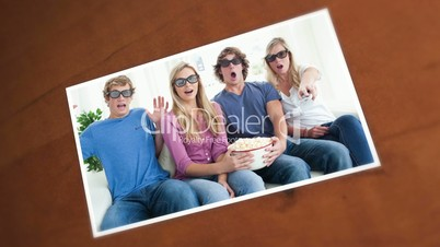 Pictures of friends having fun in the living room