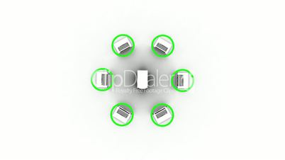 Animation depicting cloud computing connecting laptops to server