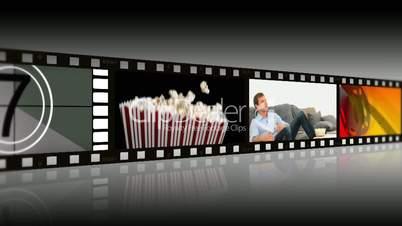 Montage of people enjoying movies