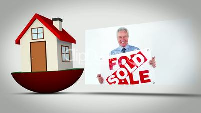Real estate montage with happy agent and customer