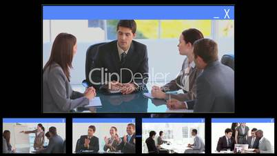 Loading symbol introducing many business clips together
