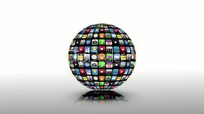 Application icons spinning in a black sphere