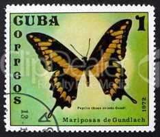 postage stamp cuba 1972 papilio thoas oviedo, butterfly