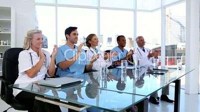 Medical team applauding