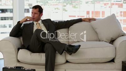 Businessman waiting before a job interview