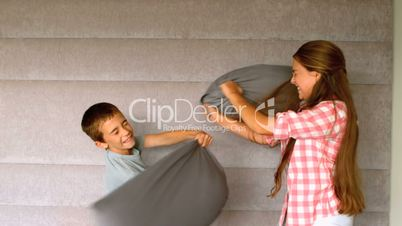 Siblings having a pillow fight