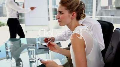 Businesswoman getting an idea