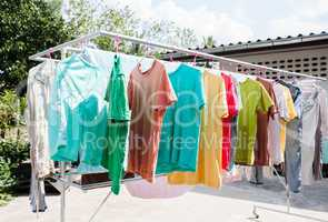 Laundry hanging out to dry outdoors in summer