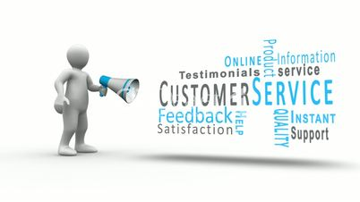 White figure yelling into a megaphone to reveal customer service terms