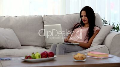 Attractive woman using laptop on the couch