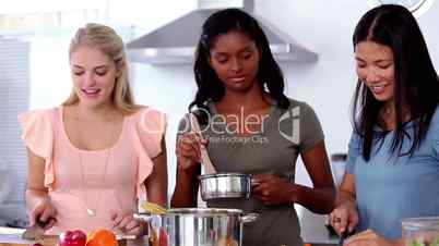 Confused friends preparing the meal