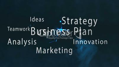 Montage of business plan terms appearing with blue sparks