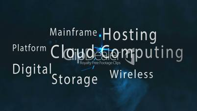Montage of cloud computing terms appearing with blue sparks
