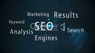 Montage of seo terms appearing with blue sparks