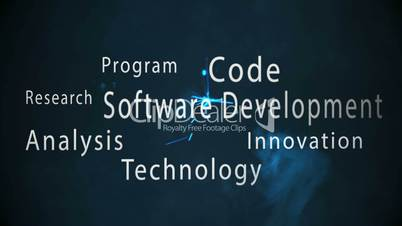 Montage of software development terms appearing with blue sparks