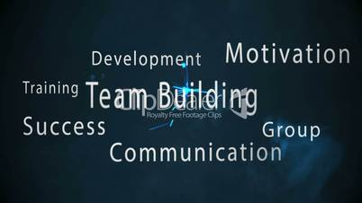 Montage of team building terms appearing with blue sparks