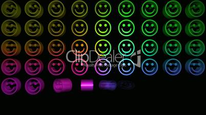 Colourful smiley faces appearing in a grid