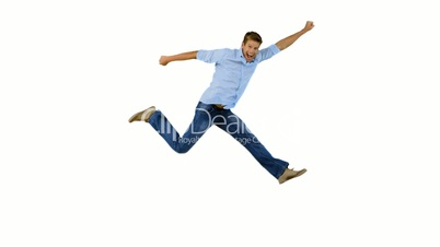 Man jumping and gesturing on white background