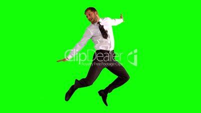 Businessman jumping up high