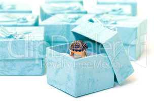 Cyan gift boxes with ring