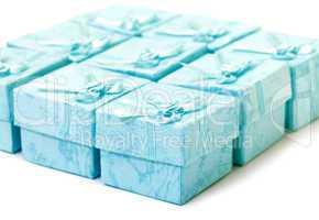 Cyan gift boxes