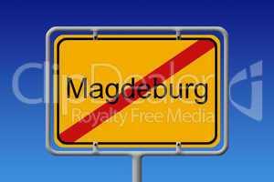 Ortsschild Ortsausgang Magdeburg - City Sign City Limit Magdebur