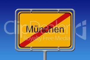 Ortsschild Ortsausgang München - City Sign City Limit Munich