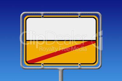 Ortsschild Ortsausgang Weiß Gelb ohne text - City Sign White Ye