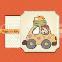 happy woman going on holiday by car