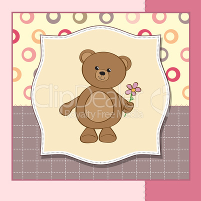 Happy Birthday Card With Teddy Bear And Flower Lizenzfreie Bilder