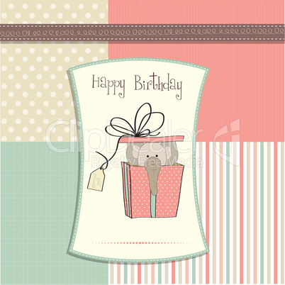 Birthday Card With Elephant In Gift Box