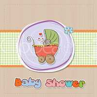 delicate baby shower card with pram