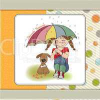 young pretty girl and her dog, friendship card