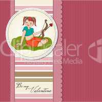 young pretty girl with cupid bow. valentine's day cardy