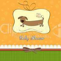 funny shower card with long dog