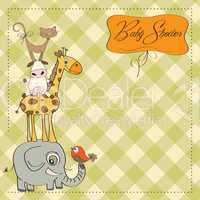 baby shower card with funny pyramid of animals