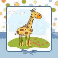 greeting card with giraffe