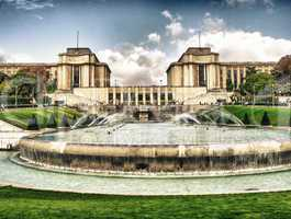 Trocadero Gardens and Architecture, beautiful view in Paris