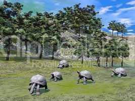 Galapagos tortoises in nature - 3D render