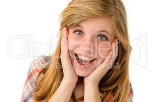 Happy girl expressing her joyful emotions