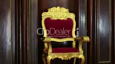 Religious objects and catholic church, old chair with Vatican symbol