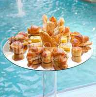 Buffet of savory bread and croissants