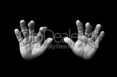 Deformed hands of a farmer