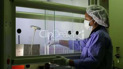 Medical research center, biotech industry, pharamaceutical laboratory with woman