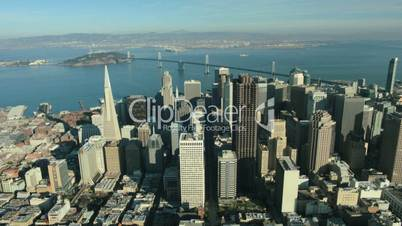 Aerial view of San Francisco and Oakland Bay Bridge, USA