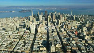 Aerial view of San Francisco and Bay area and Skyscrapers, USA
