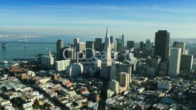 Aerial view of the Transamerica Pyramid building, San Francisco, USA