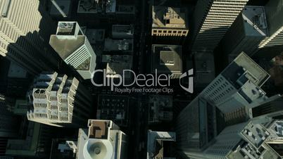 Aerial vertical view of rooftop skyscrapers, America